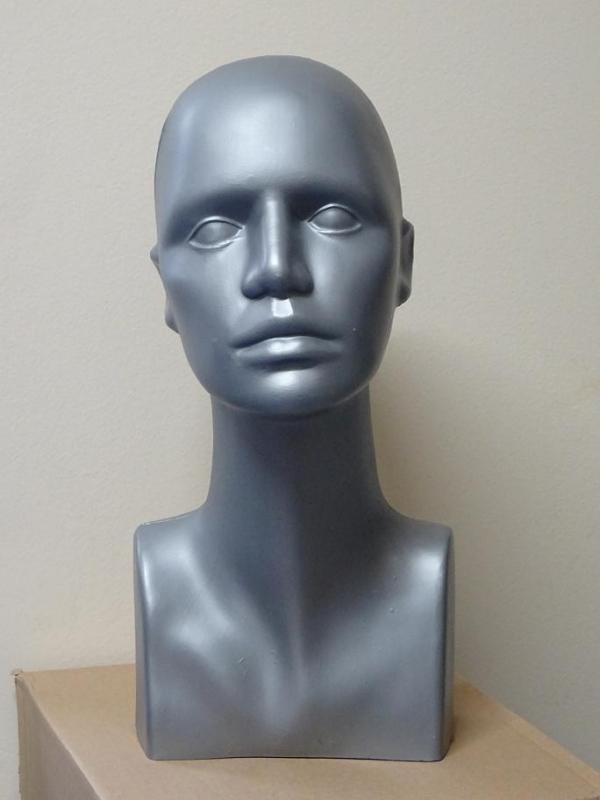 Hlava plastová 38cm - šedá