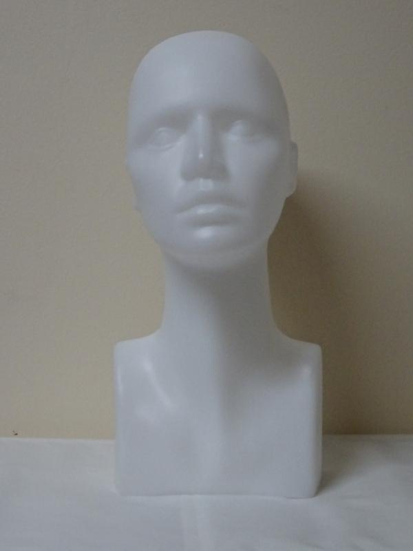 Hlava plastová 38cm - biela
